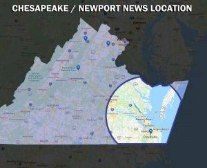 MEP Home Services Plumbing, HVAC, Electrical Repairs and Installation Chesapeake Newport News Virginia Beach Hampton map